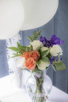 Pink, Flowers, Balloons, Festival, Wedding, Petals