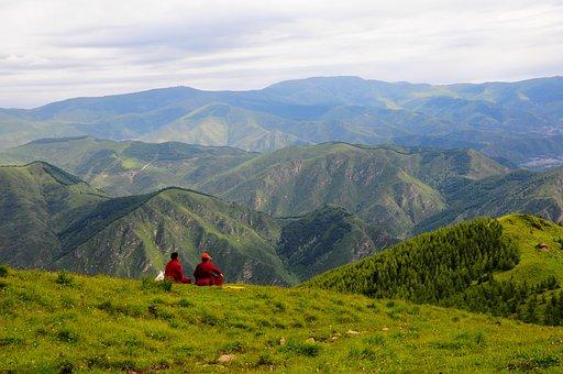Monk, Mountain, Southern Taiwan, Landscape, People, Sat