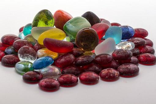 Glass Nuggets, Stones, Colorful