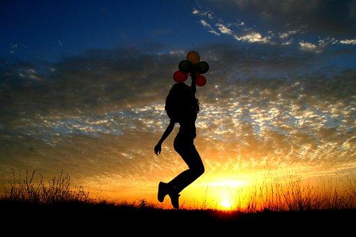 Girl, Sunset, Balloons, Bounce, Flight, Sun, Sky Clouds