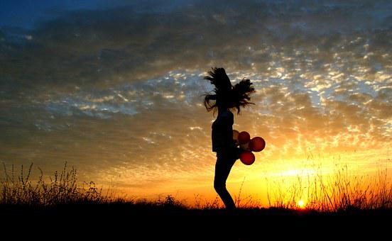 Girl, Sunset, Balloons, Bounce, Sun, Sky Clouds