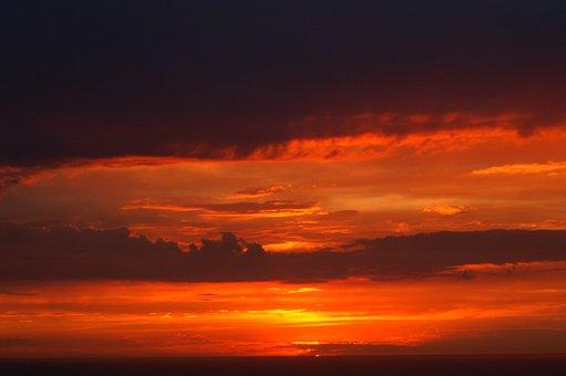 Sunset, Twilight, Red Orange Sky, Mediterranean Sea