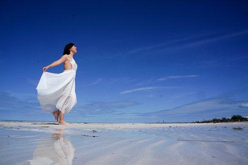 Beach, Girl, Caribbean Sea, White, Wedding, Sky, Blue
