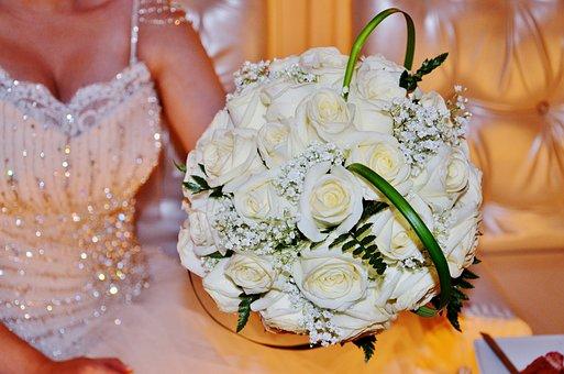 Bucet, Bouquet, Flower, Rose, Nature, Leaf, White