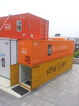 Container, Box, Orange, Collar, Colorful, Sculpture