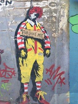 Ronald Mcdonald, Mcdonalds, Graffiti, Satire
