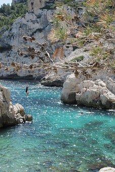 Slackline, Balance, Fun, Leisure, Water, Rocks, Nature