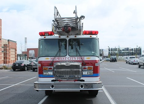 Midwest City, Oklahoma, Fire Truck, Red, Fire, Truck