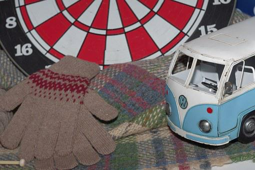 Darts, Wool Gloves, Tin Car, Old Car, Mini Car