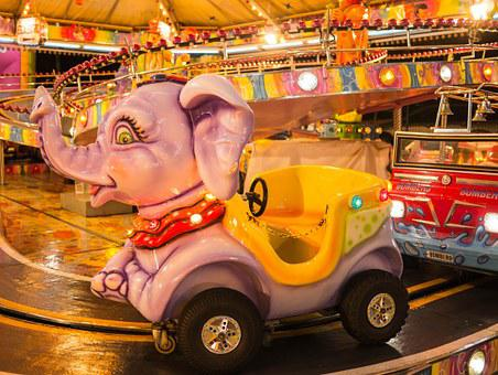 Elephant, Carousel, Play, Playfulness, Fun, Holiday