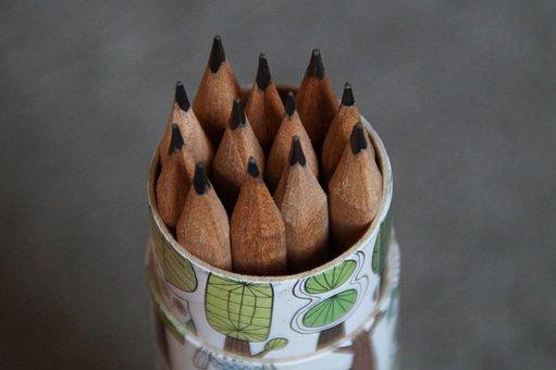 Quiver, Pen Holder, Pencils, Pointed, School, Pen
