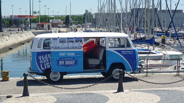 Van, Combi, Port, Truck, Blue, Boat, City, Color