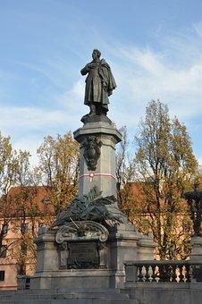 Adam Mickiewicz, Warsaw, Monument, Sculpture, Autumn