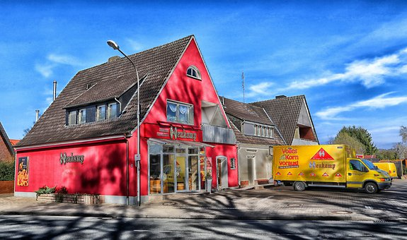 Steinfurt, Germany, Bakery, Truck, Building, Hdr, House