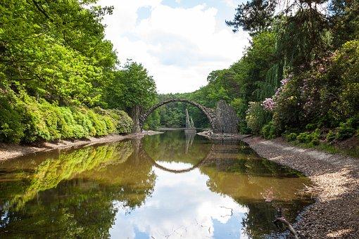 Stone Arch, Stone Bridge, River, Water, Mirroring
