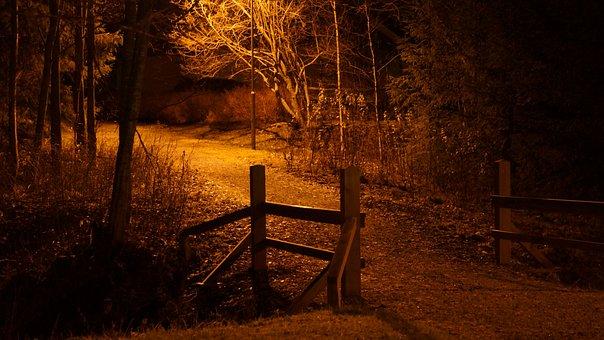 Night Scene, Street Light The Walkway, Bridge