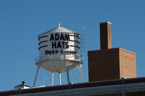 Adams Hats, Water Tower, Deep Ellum, Landmark, Vintage