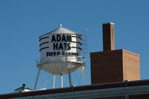 Adams Hats, Water Tower, Deep Ellum, Landmark, Vintage