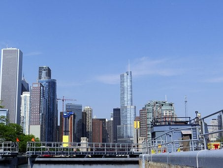 Downtown, Chi-town, Chicago, Water, Chicago River, Lock