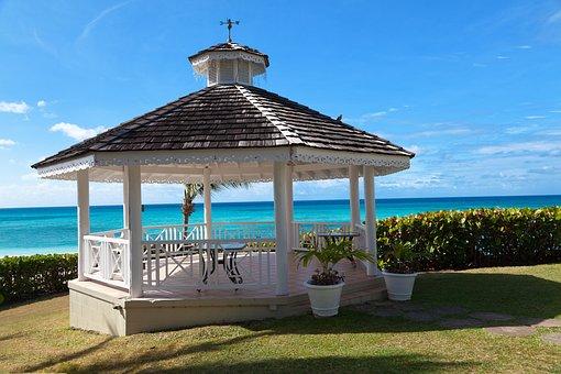 Gazebo, Ocean, View, Sky, Blue, Vacation, White, Sea
