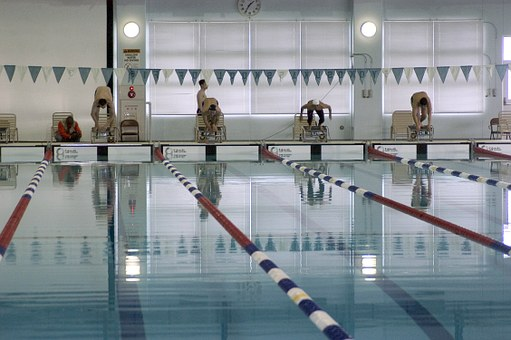 Yokusuka, Japan, Pool, Water, Swimmers, Athletic