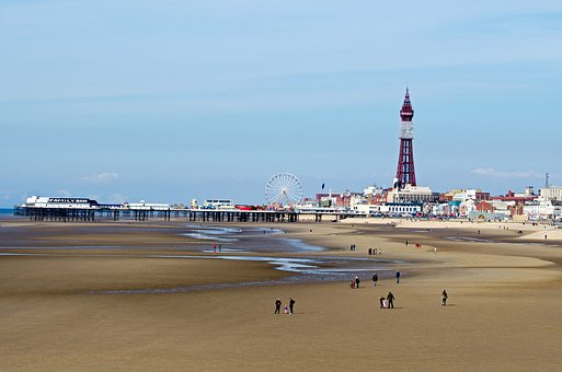 Blackpool, Tower, Attraction, Sea, Beach, Landscape