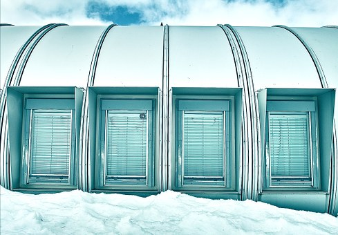 Windows, Snow, Structure, Building, Winter, Cold