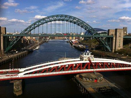 Bridge, Tyne, River, England, Water, City, Gateshead