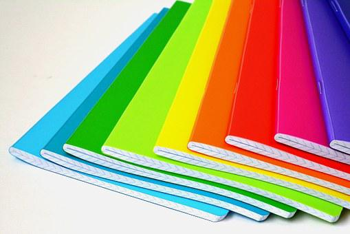 Notebooks, Color, Colored, Rainbow, Saturated