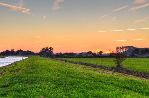 Landscape, Ems-jade Canal, Dykhausen, Sunrise, Meadow