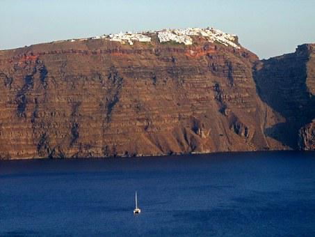 Crater Rim, Sea, Santorini, Greece, Cyclades, Holiday