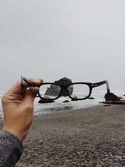 Glasses, Beach, Rain, Weather, Hand, Grey, Rock, Water