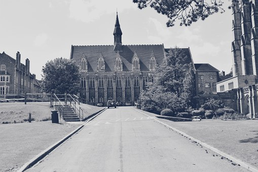 Lancing College, Historical, Building, Road, Trees, Uk