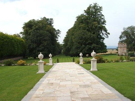 Lawn, Pathway, Pillars, Trees, Grass, Rowton Castle