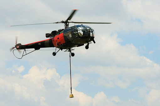 Alouette Iii, Helicopter, Hovering, Lowering Weight