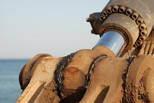 Machine, Excavator, Industrial, Sky, Beach, Equipment