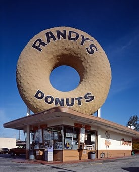 Donut, Doughnut, Randy's Donuts, Shop, Music, Bakery
