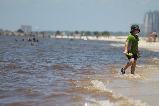 Boy, Child, Ocean, Water, Beach, Coast, Outdoorsplaying
