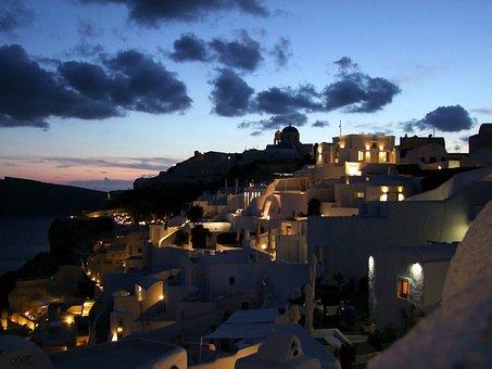 Abendstimmung, Santorini, Oia, Homes, Crater Rim