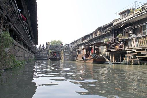 Boat, Country, China, Chinese, Water, Outdoor, Old