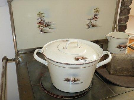 Kitchen, Stove, Cook, Antique, Eat, Oven, Food, Enamel