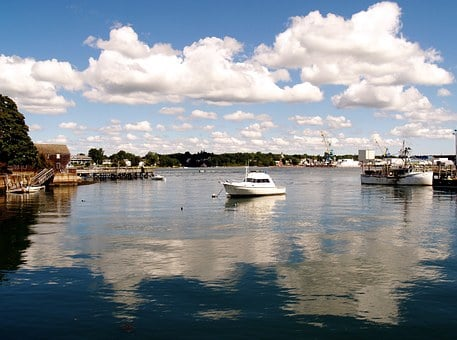 Portsmouth Harbor, Portsmouth, Nh, Harbor, Coast, Boat
