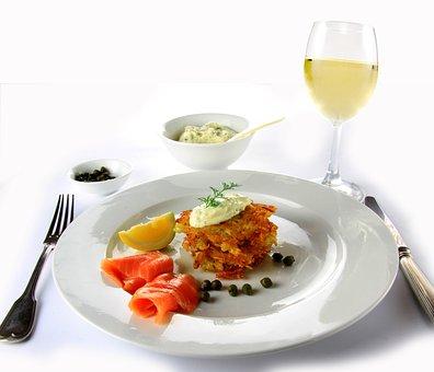 Food, Wine, Salmon, Potato, Plate, Meal, Vegetables