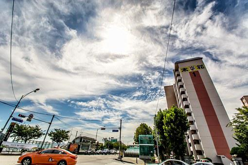 Buildings, Street, Traffic, Seoul, Yeoido, Sky, Cloud