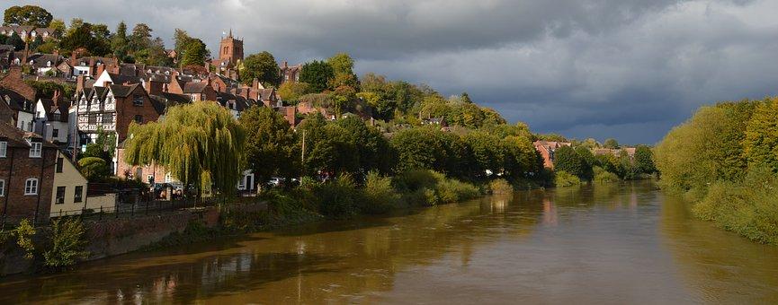 Bridgnorth, River, Shropshire, High Water, Sunset