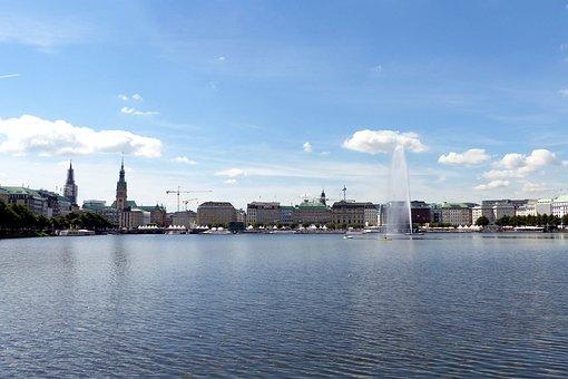 Hamburg, Big City, Binnenalster, Skyline