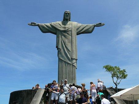 Jesus Christ, Statue, Rue De Janeiro, Tourists