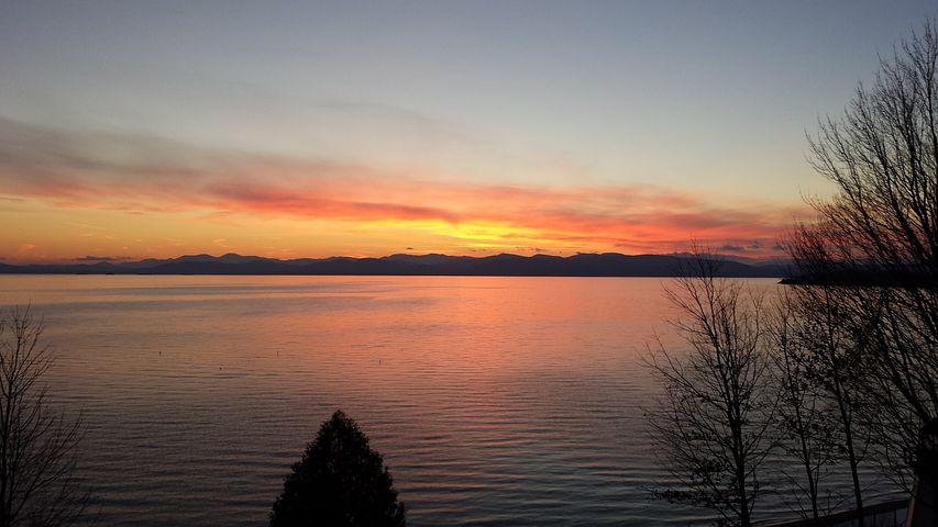 Vermont, Lake Champlain, Sunset, Burlington