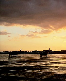 Air Field, Air Craft, Tarmac, Wet, Rain, Sunset, Clouds