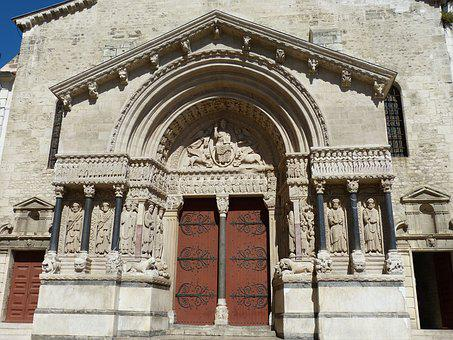 Arles, Cathedral, Facade, France, Old Town